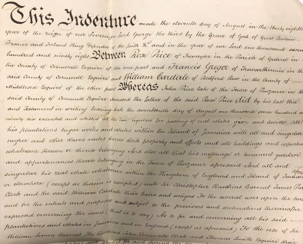 Photograph of large handwritten document.