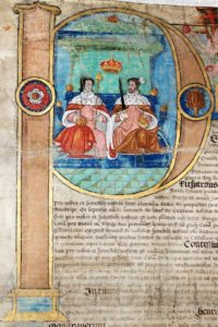 Scan of extract from Tudor document showing illuminated letter with picture of Queen Mary and her husband.