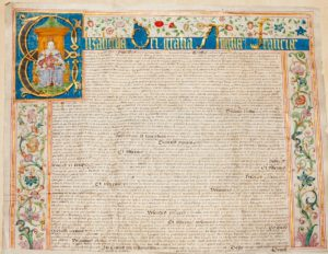 Scan of colourful Tudor handwritten document including decorated border and picture of Queen Elizabeth I.