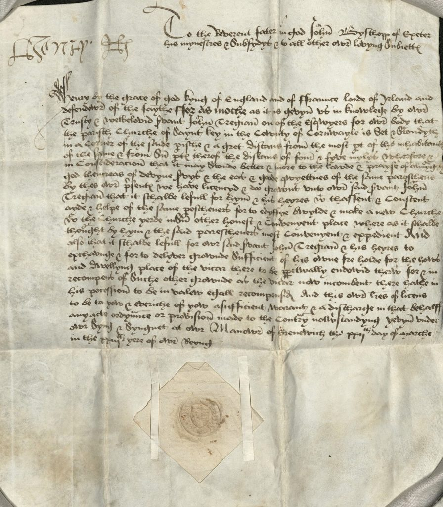 Scan of handwritten document including signature of King Henry VIII.