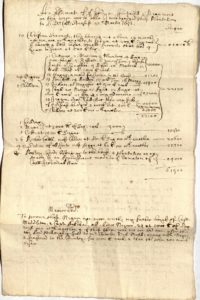 Scan of handwritten document showing names, prices.
