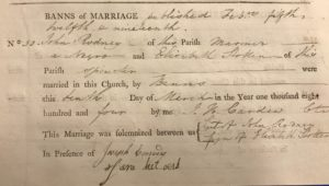 Photograph of an extract from a parish register.