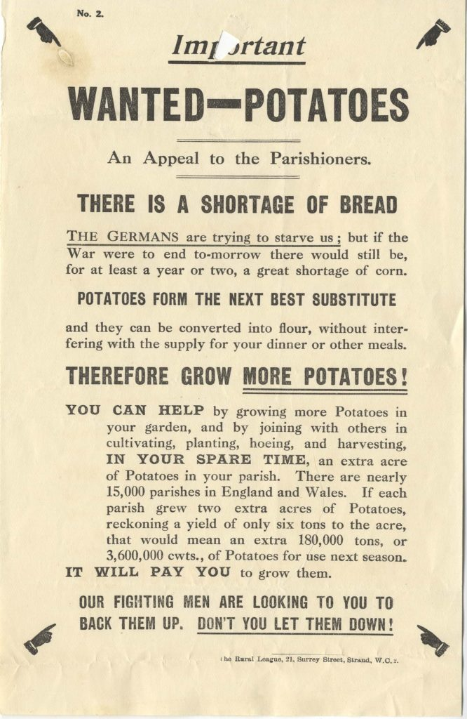 Printed poster asking for potatoes.