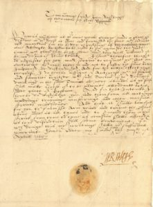 Scan of a handwritten Tudor document signed by Walter Raleigh.