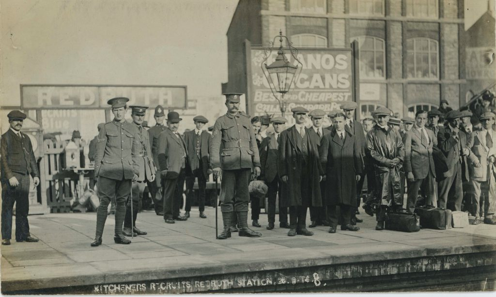 Photograph of troops at Redruth Railway Station
