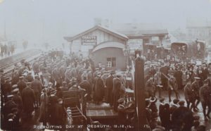 Photograph of men lining up at a recruiting day in Redruth.