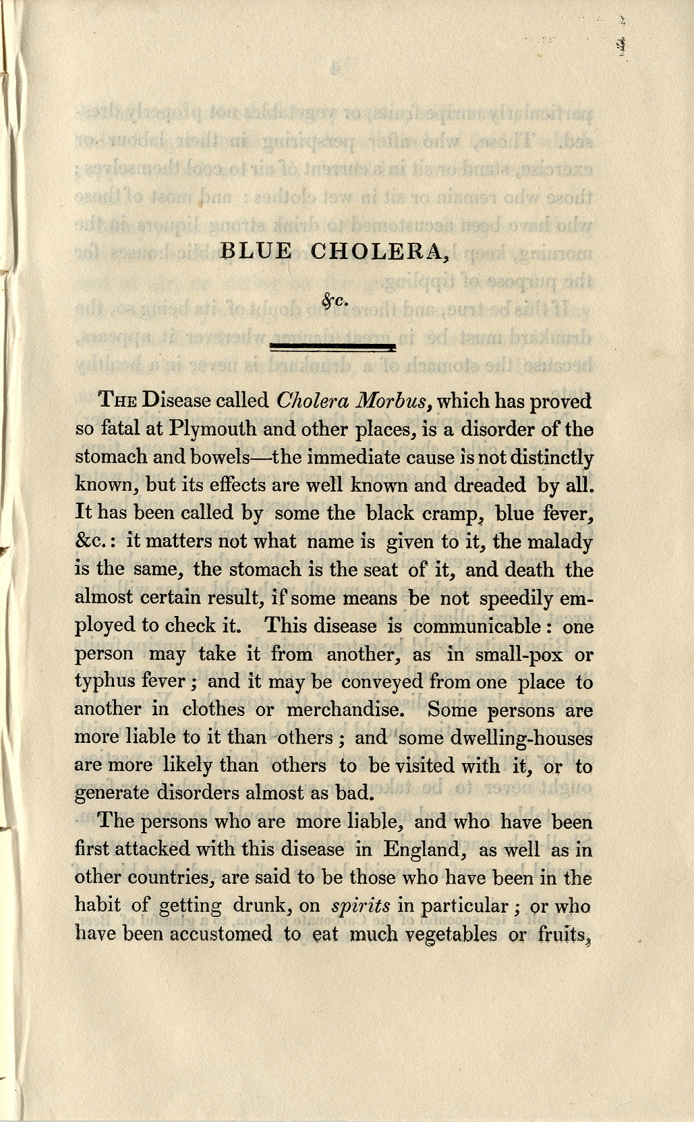 Scan of publication about cholera from 1832