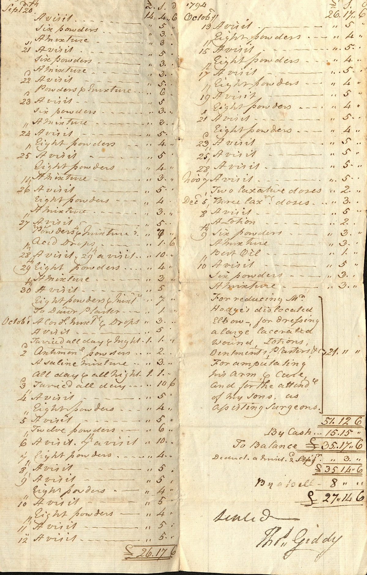 Scan of account for medical expenses 1794