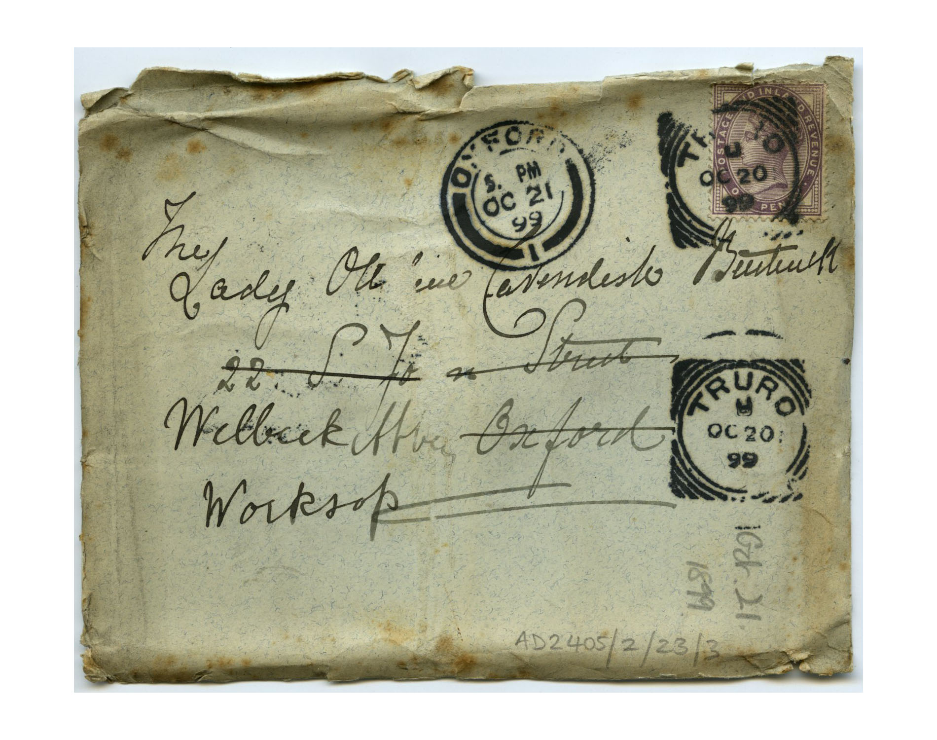 Old envelope regarding Mother Julian