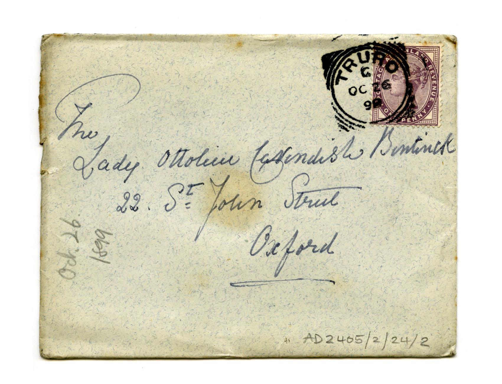 Old envelope regarding Mother Julian