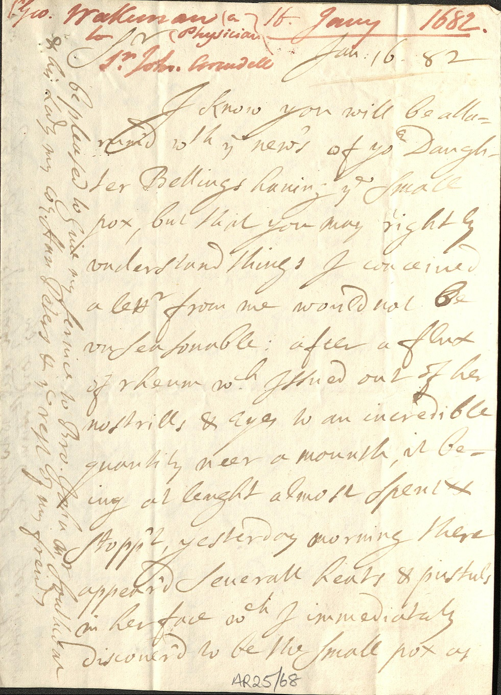 Scan of letter about smallpox