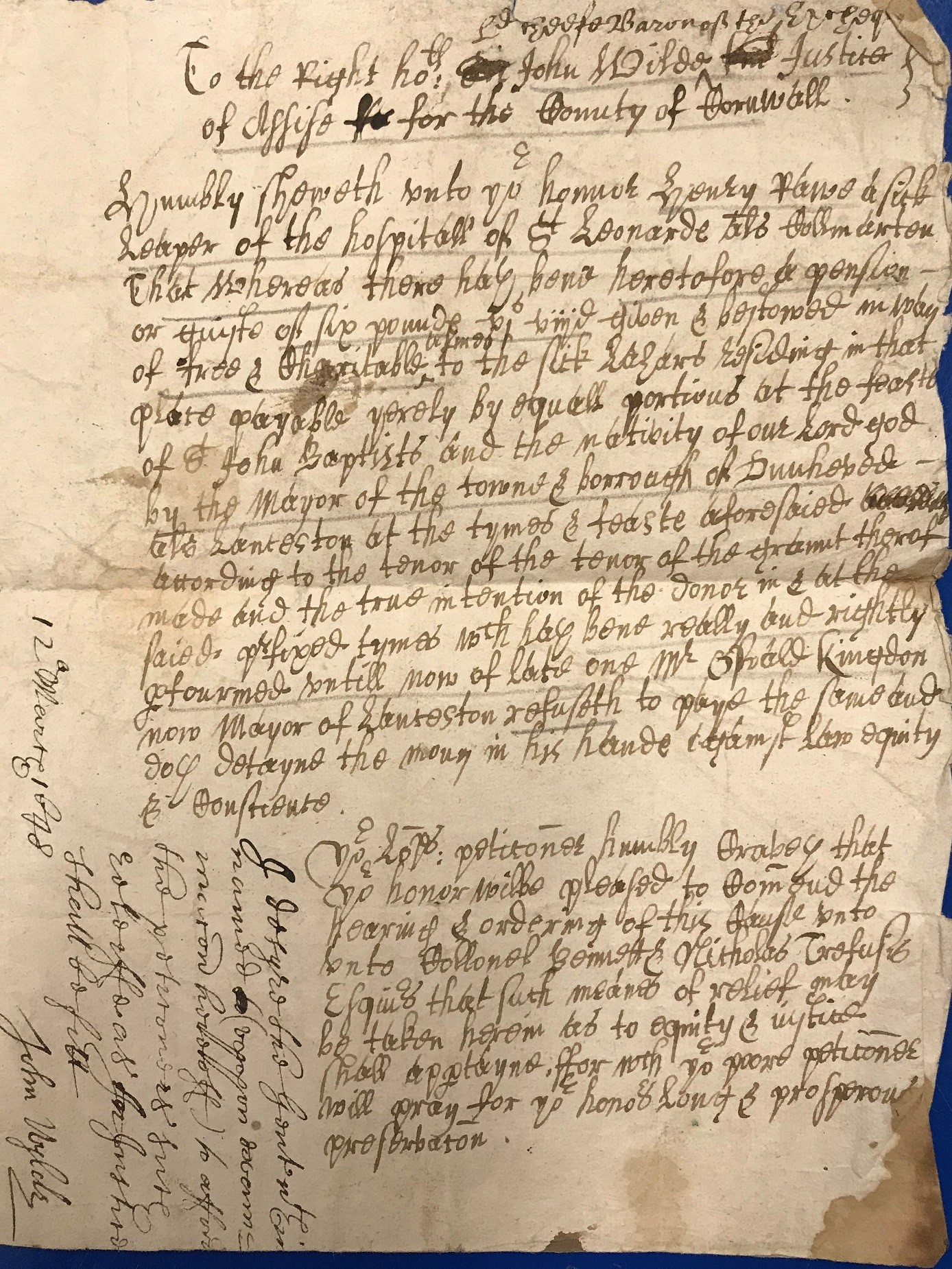 Scan of petition about leprosy from 1648