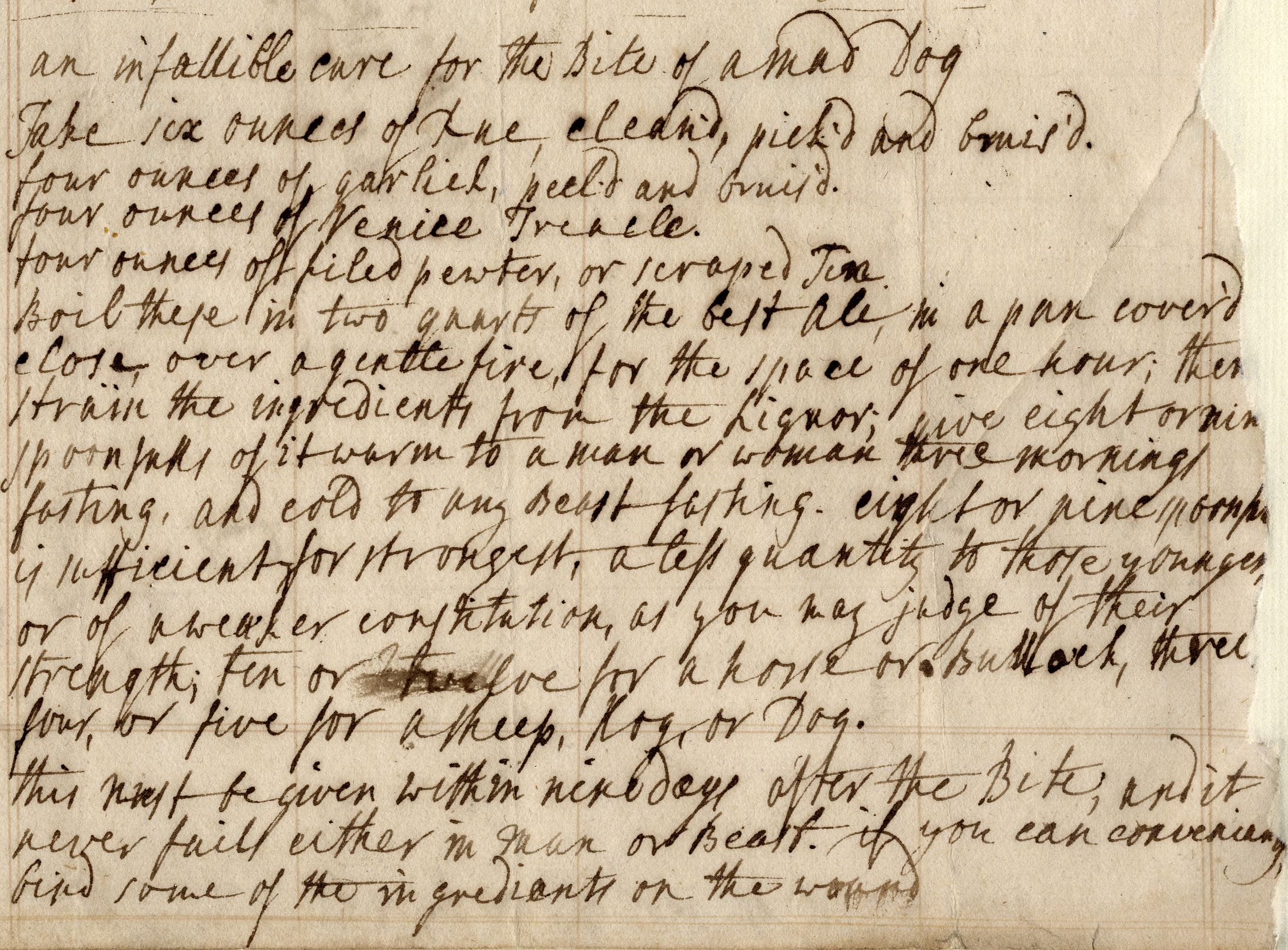 Scan of an old recipe for curing a dog bite