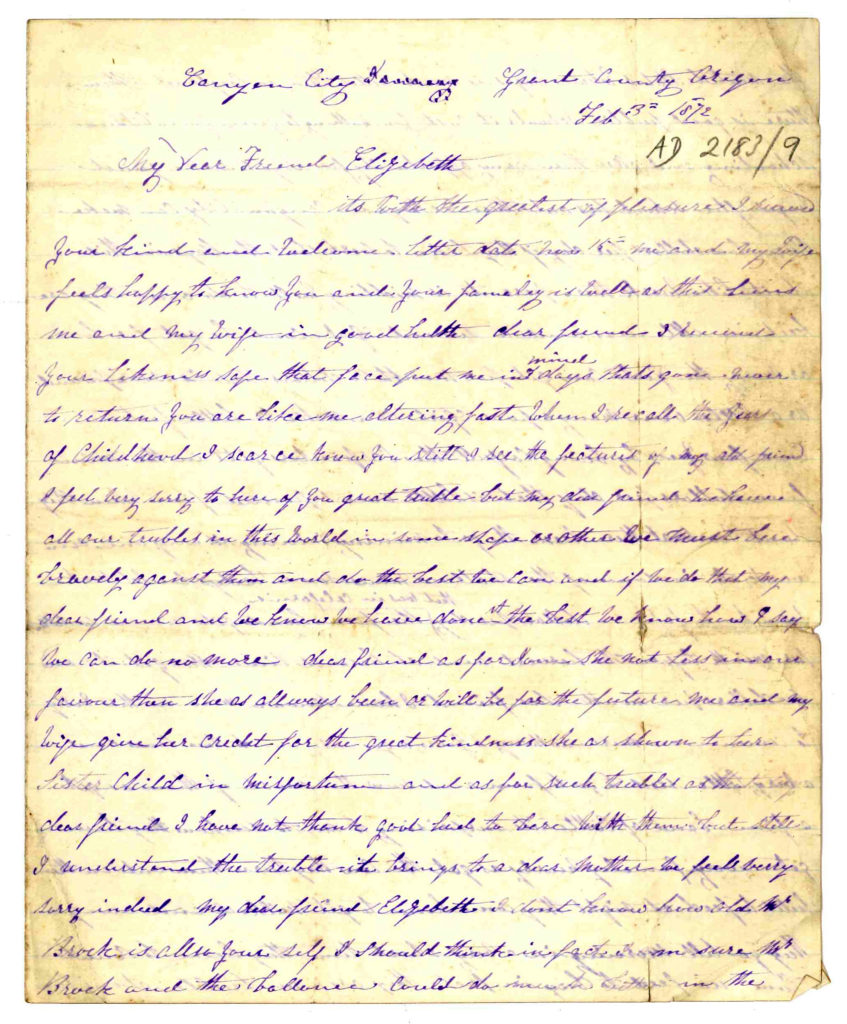 Photograph of old letter about migrating