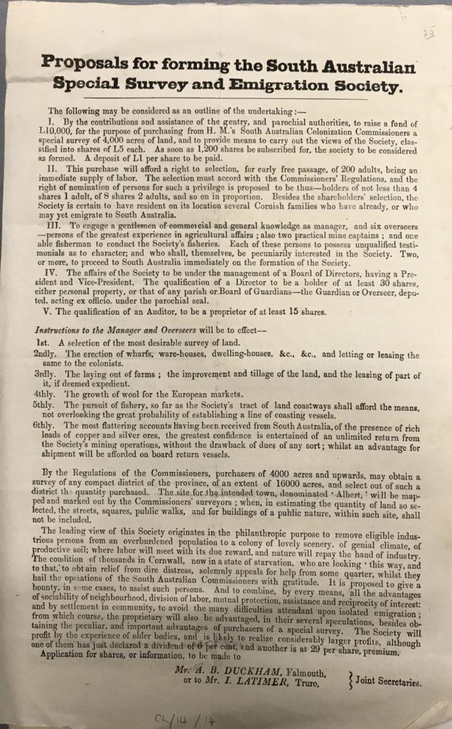 Scan of Emigration Society leaflet