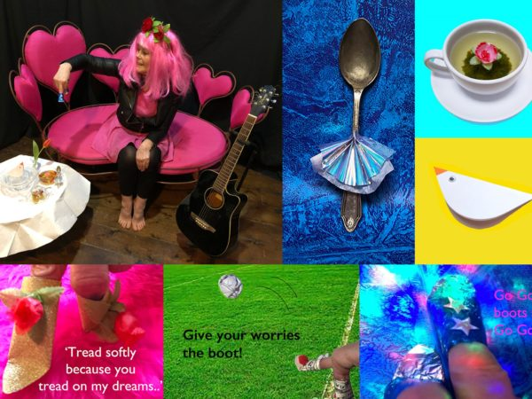 Collection of photos showing lady in a pink wig drinking tea, tea cups and spoons, feet and birds.