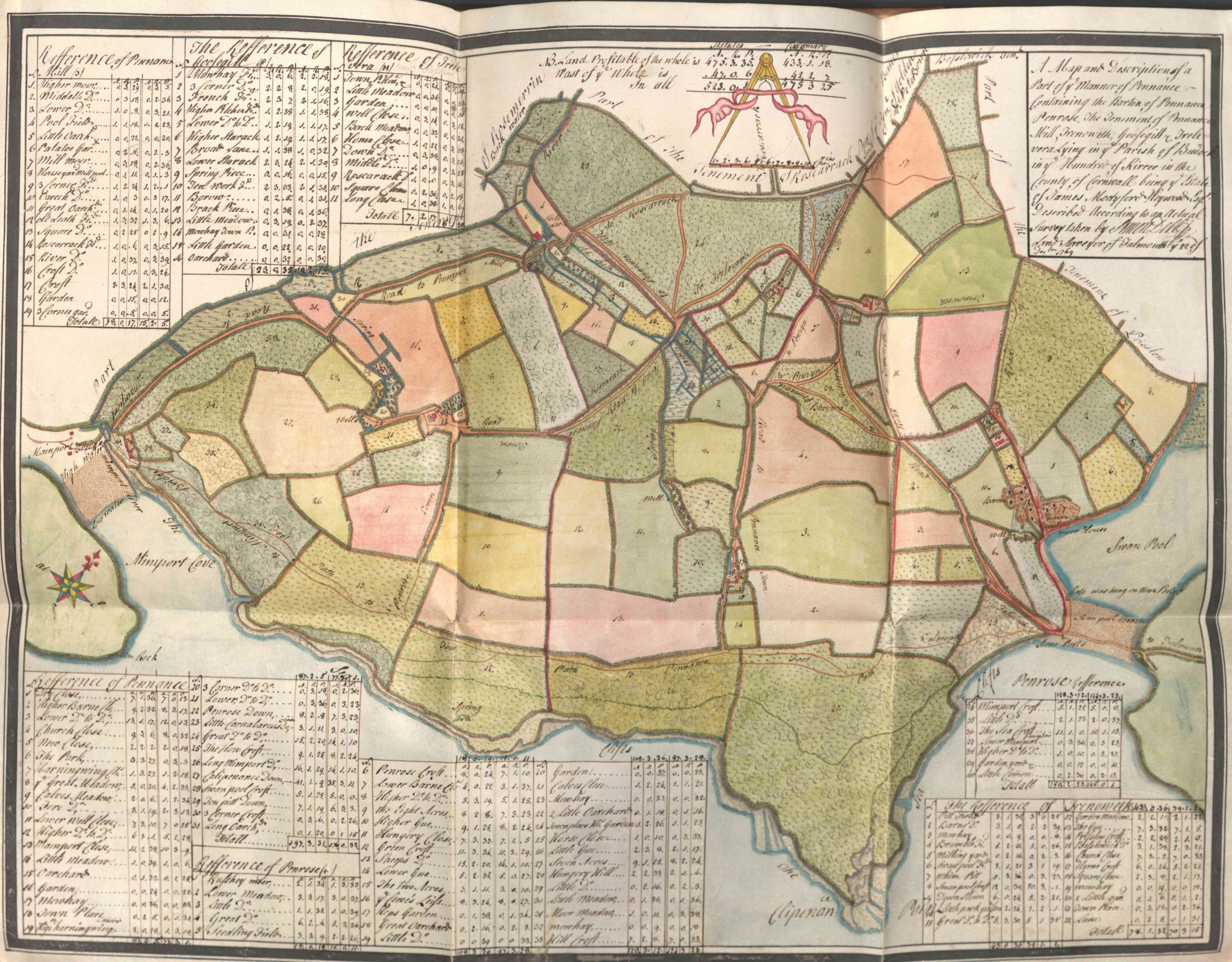 Image of a brightly coloured hand drawn estate map.