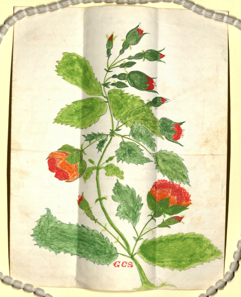 Scan of colourful illustrated letter