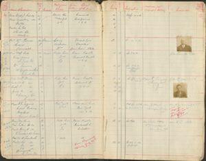 Scan of 1916 migrant passenger details