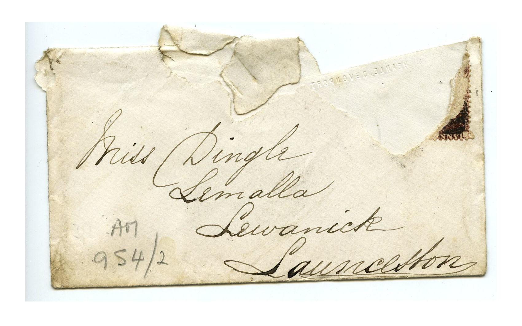 Old envelope regarding the Adams family