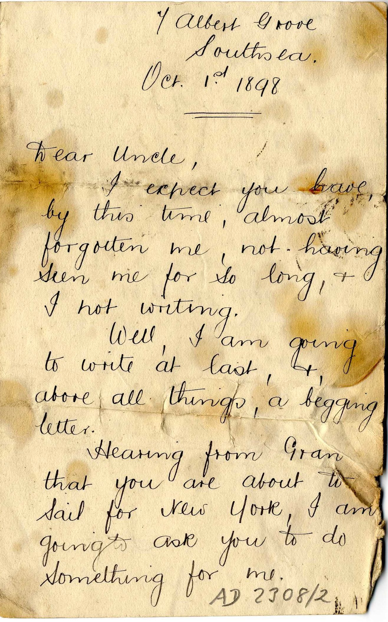 Scan of handwritten letter with water stains.