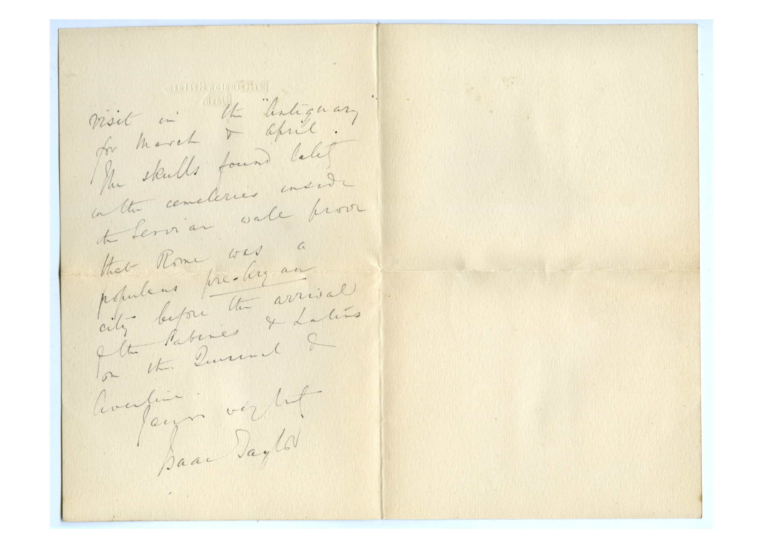 Old letter regarding Henry Jenner