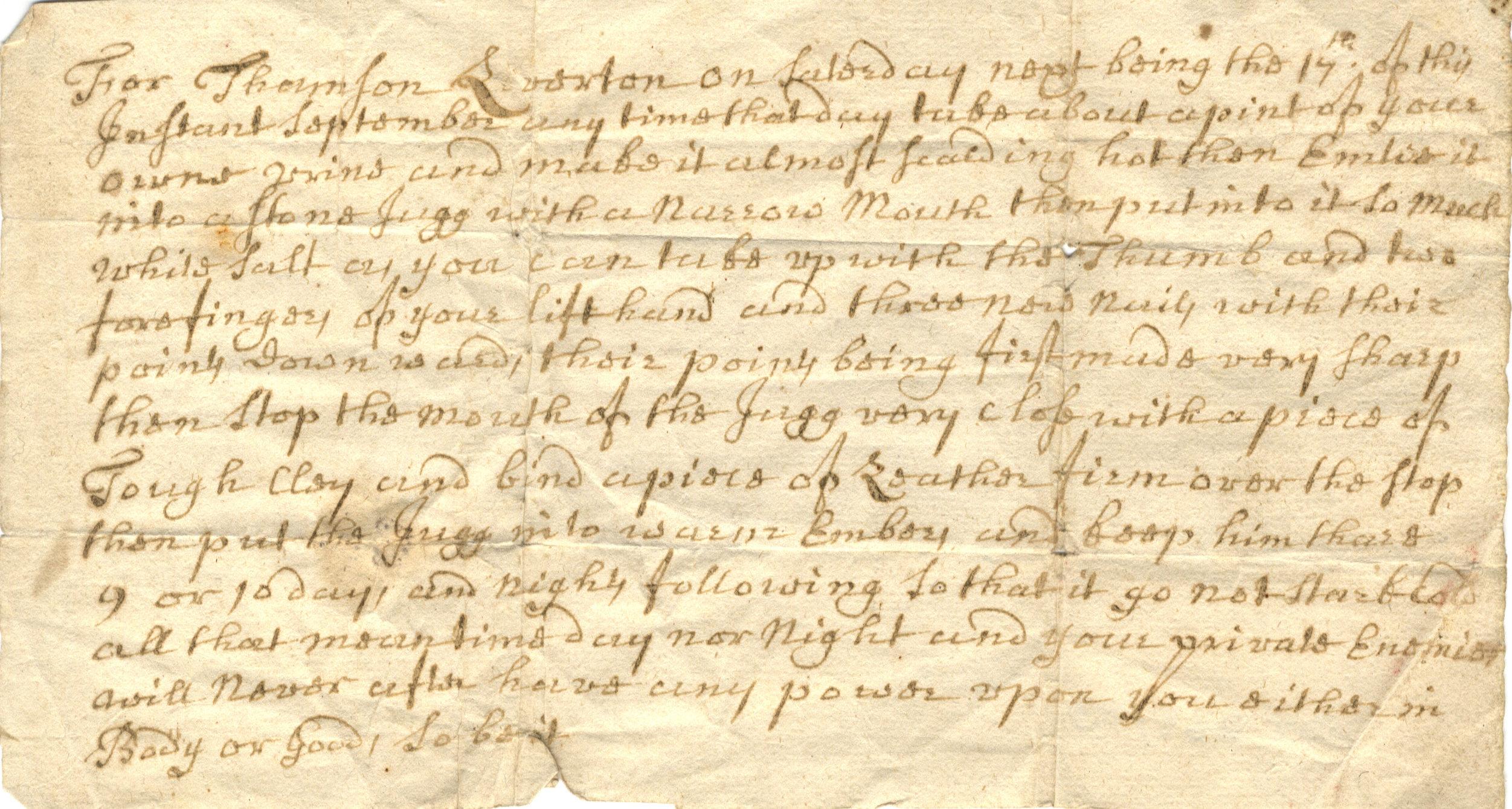 Scan of a handwritten spell describing the creation of a witch-bottle.