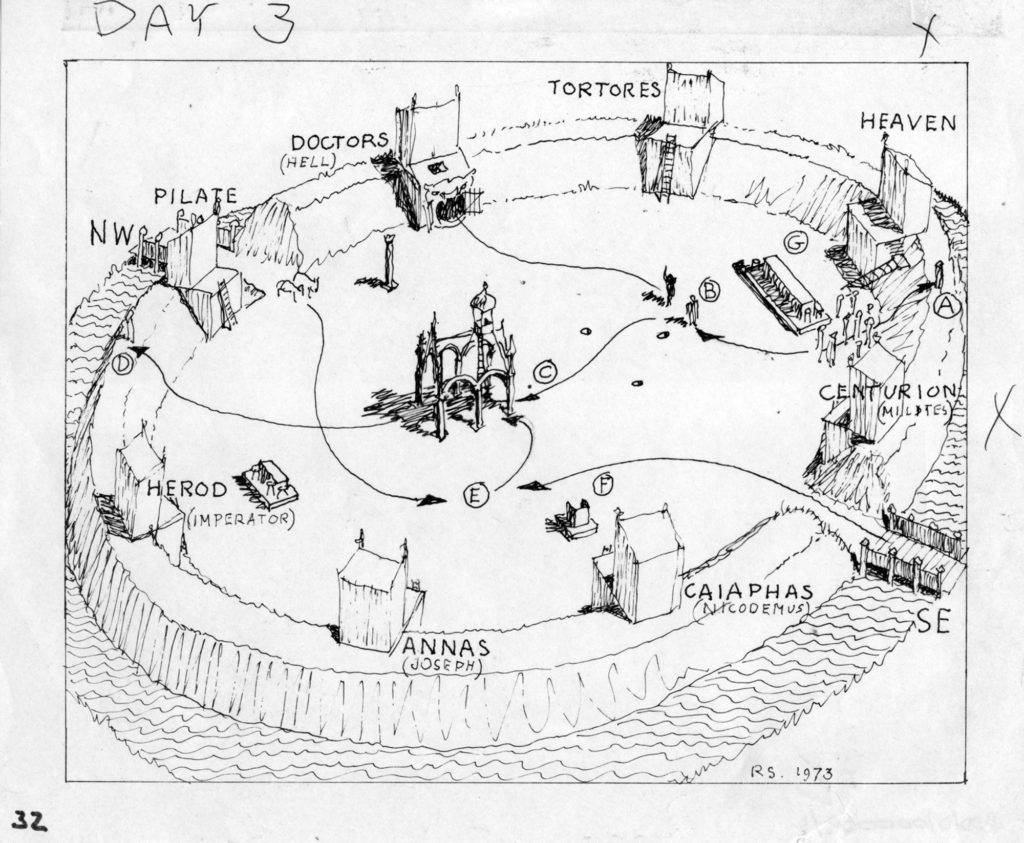 Line drawing referencing a theatre round