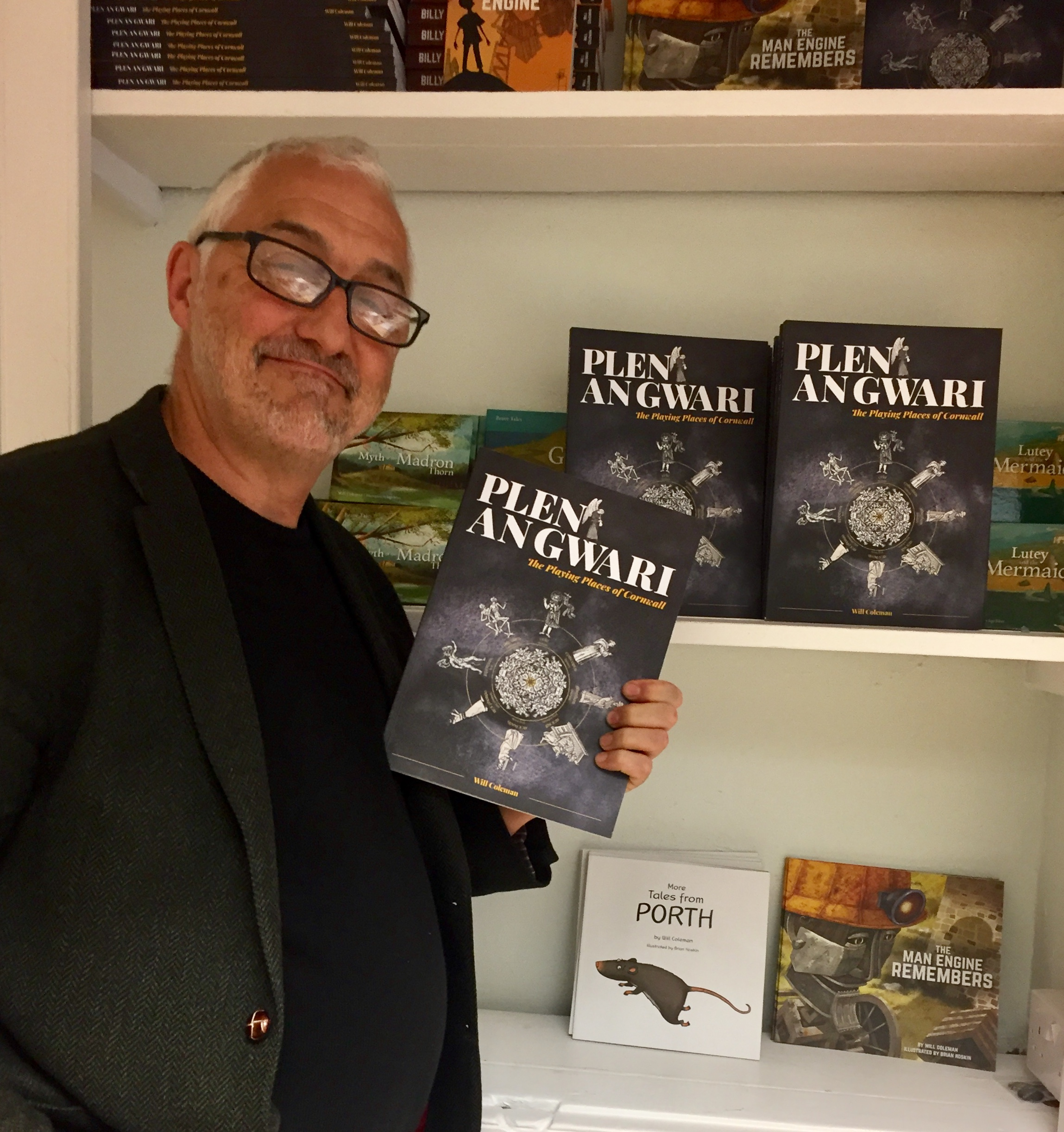 Will Coleman with the second edition of his book Plen an Gwari: The Playing Places of Cornwall