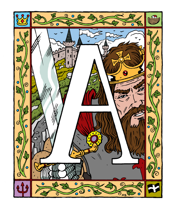Illustration showing a large capital A with a picture of King Arthur behind.