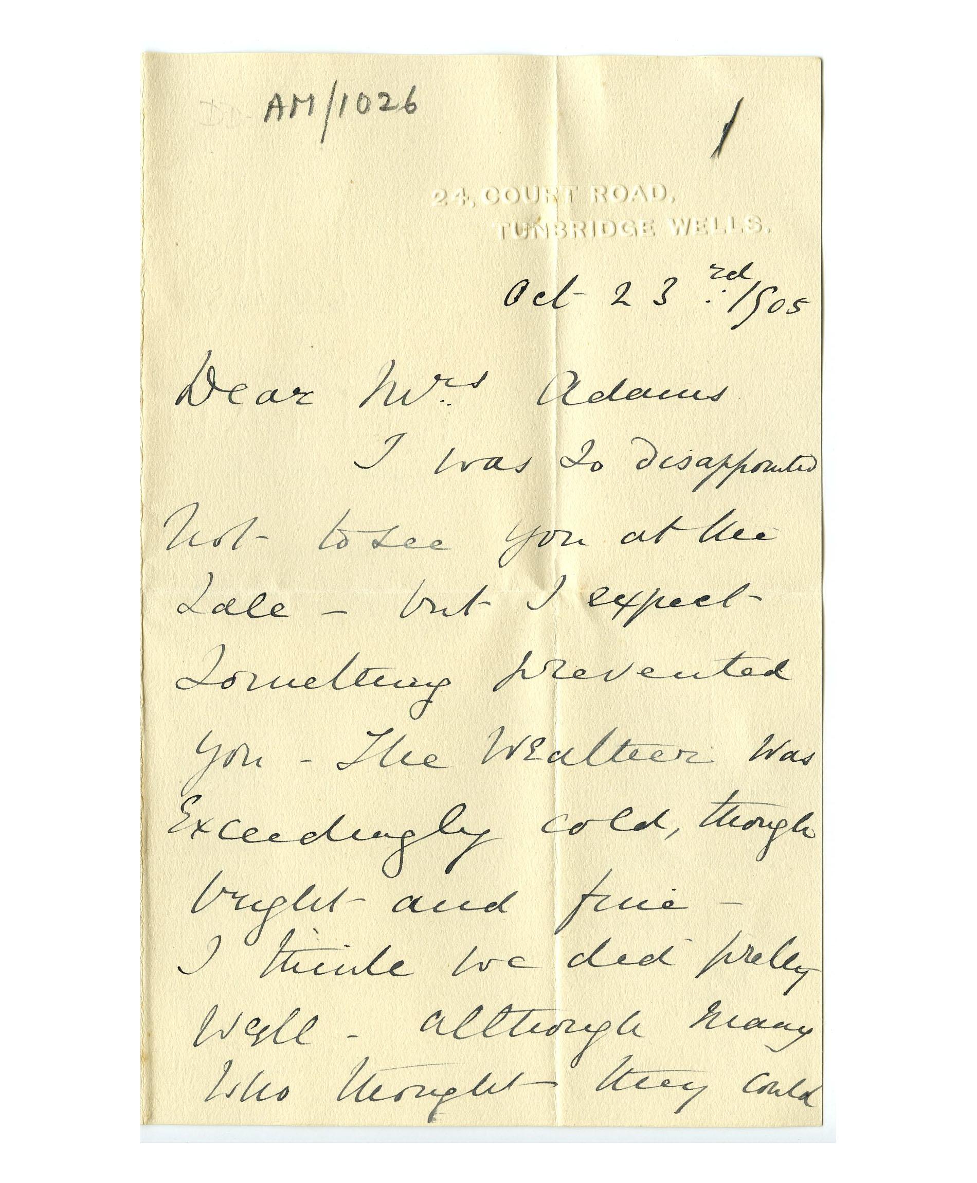 Old letter regarding John Couch Adams