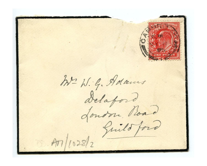 Old envelope regarding John Couch Adams