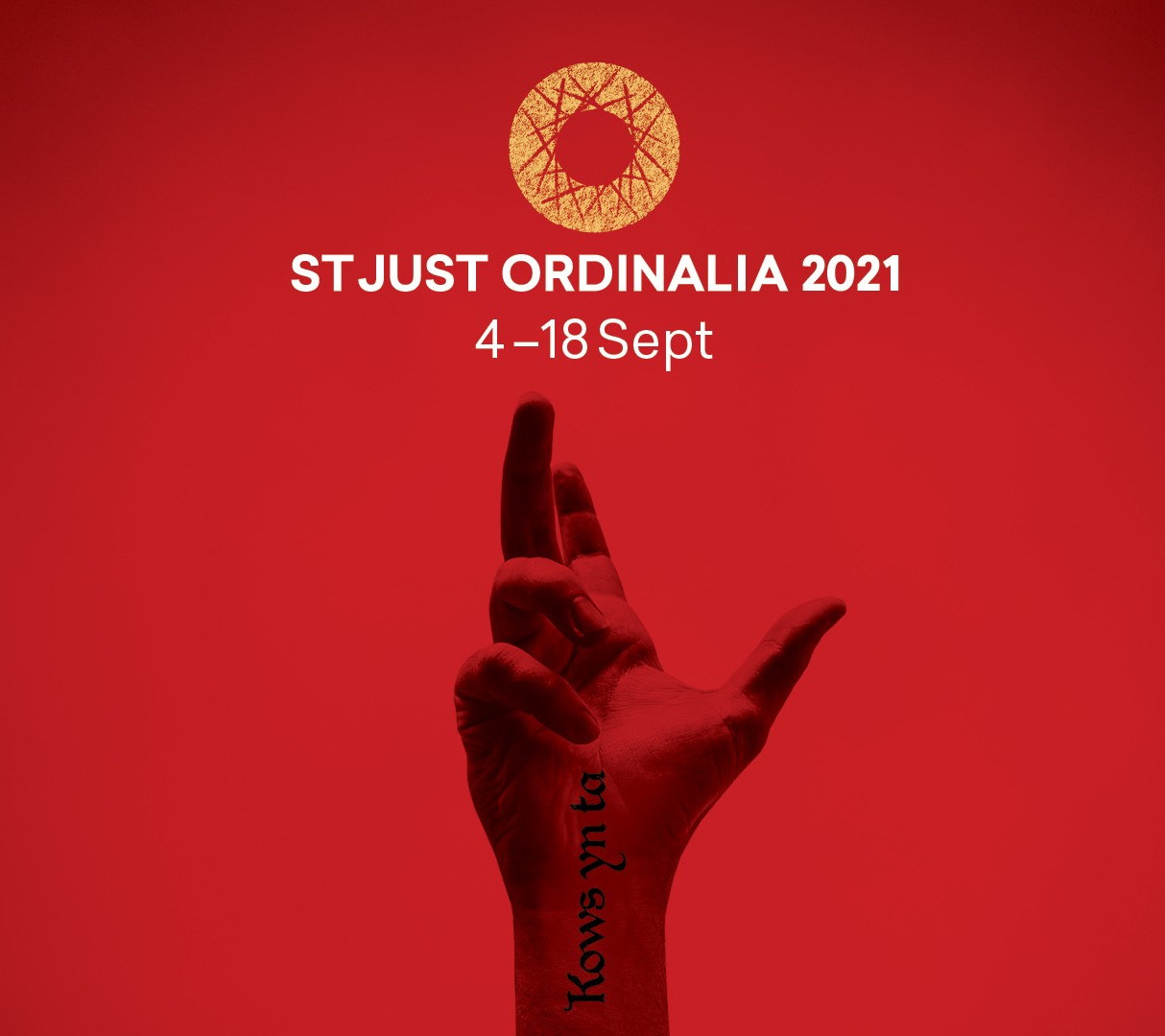 Poster showing hand and title St Just Ordinalia 2021.