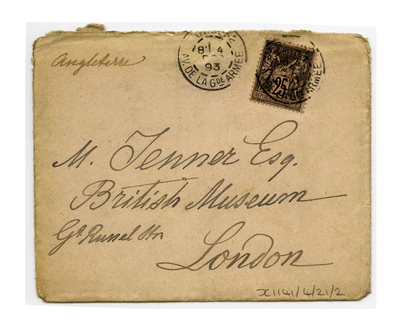 Old envelope regarding Henry Jenner