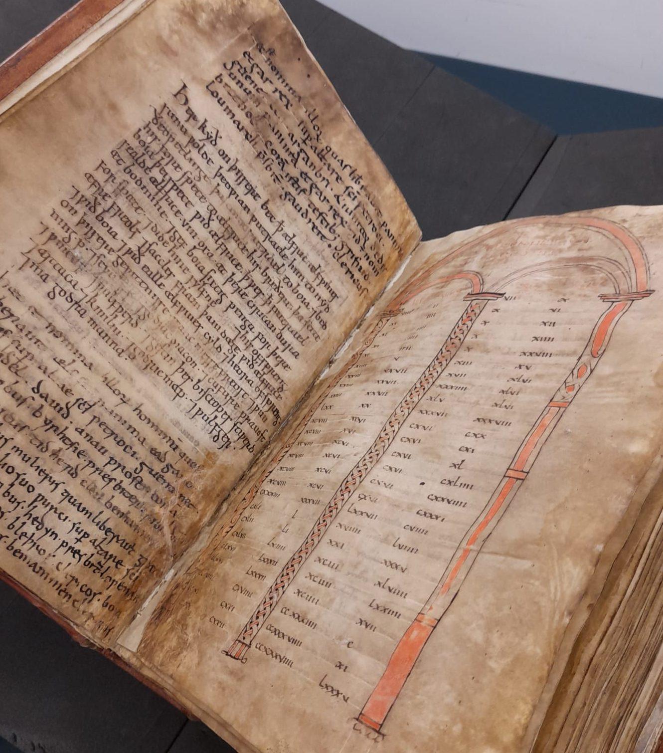 Colour photo showing Bodmin Gospels book open.