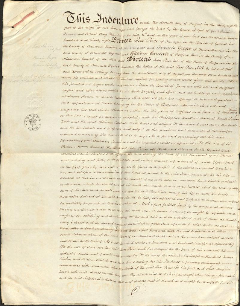 Colour scan of a handwritten document