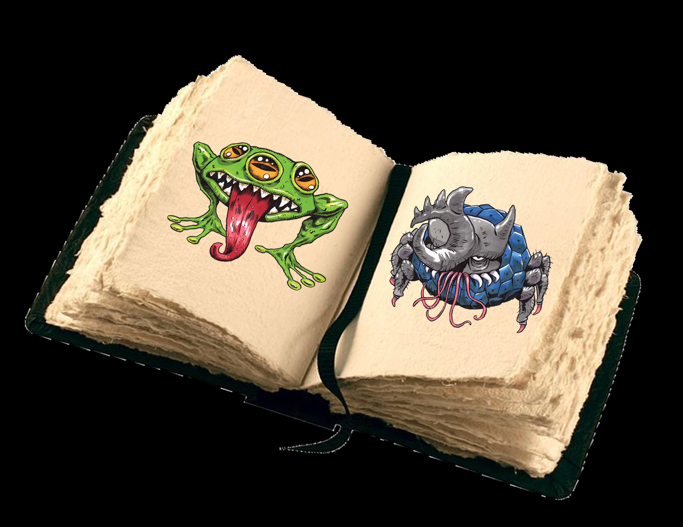 Photo of open book with cartoon monsters.
