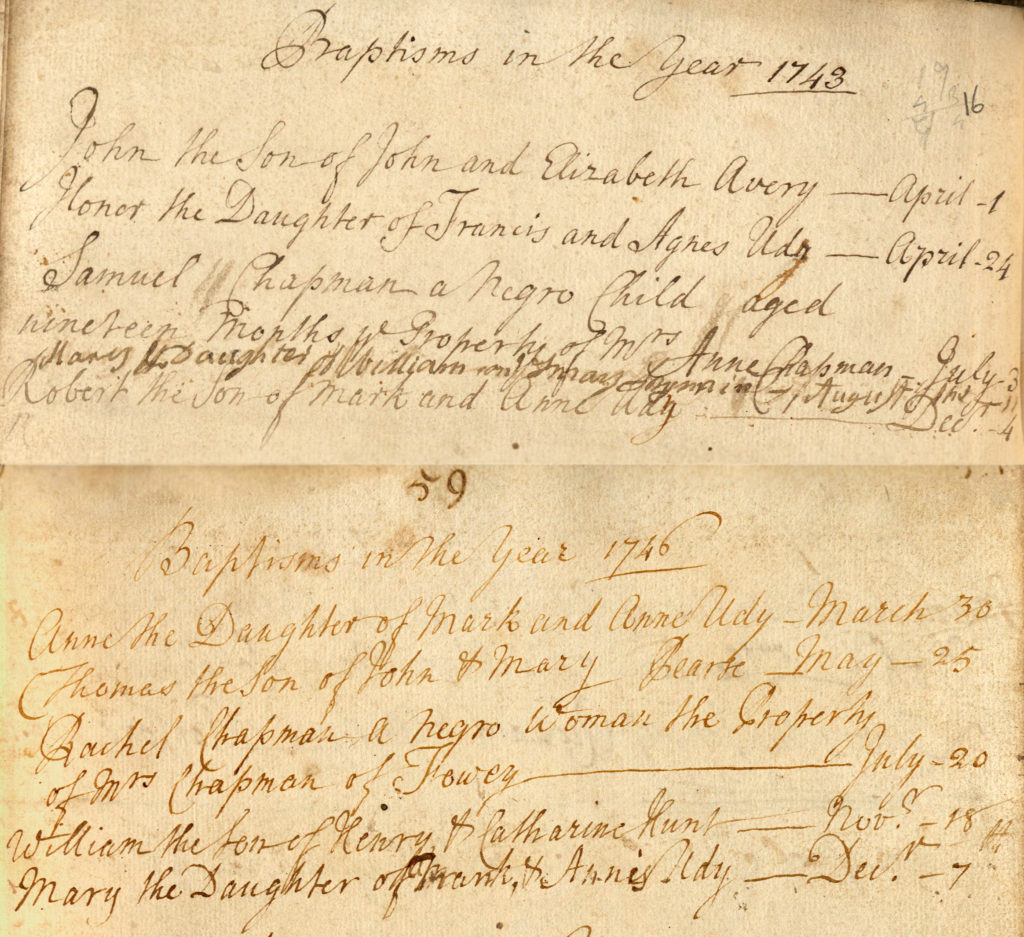 Colour scan showing two handwritten records in a baptism register.