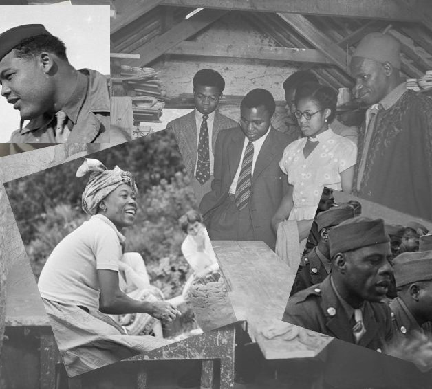 Collage of black and white photos showing Black people in Cornwall.