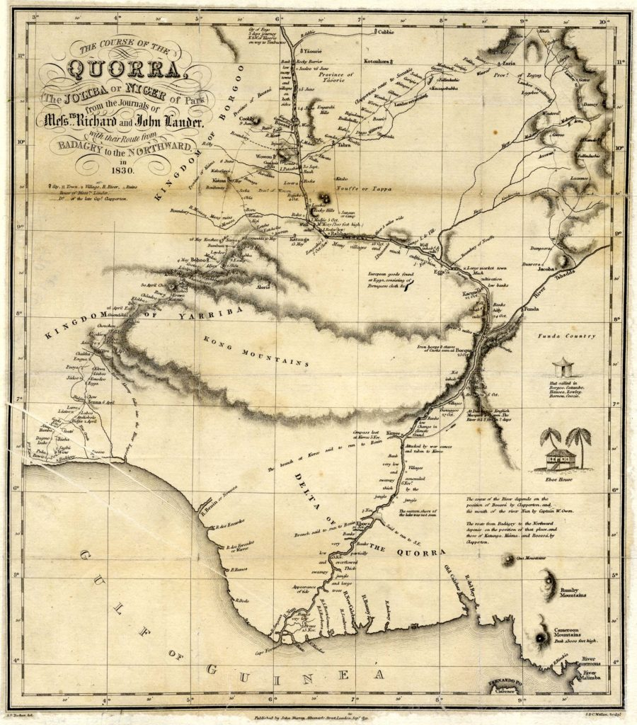 Coloured scan of a printed map of Africa.